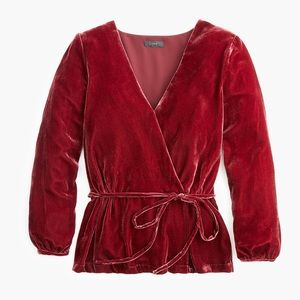 JCrew Faux Wrap Top in Drapey Velvet NWT 10